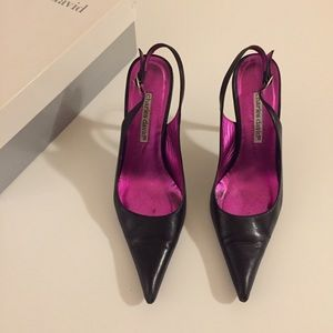 Charles David Lucy Black Leather Pointy Toe Heel